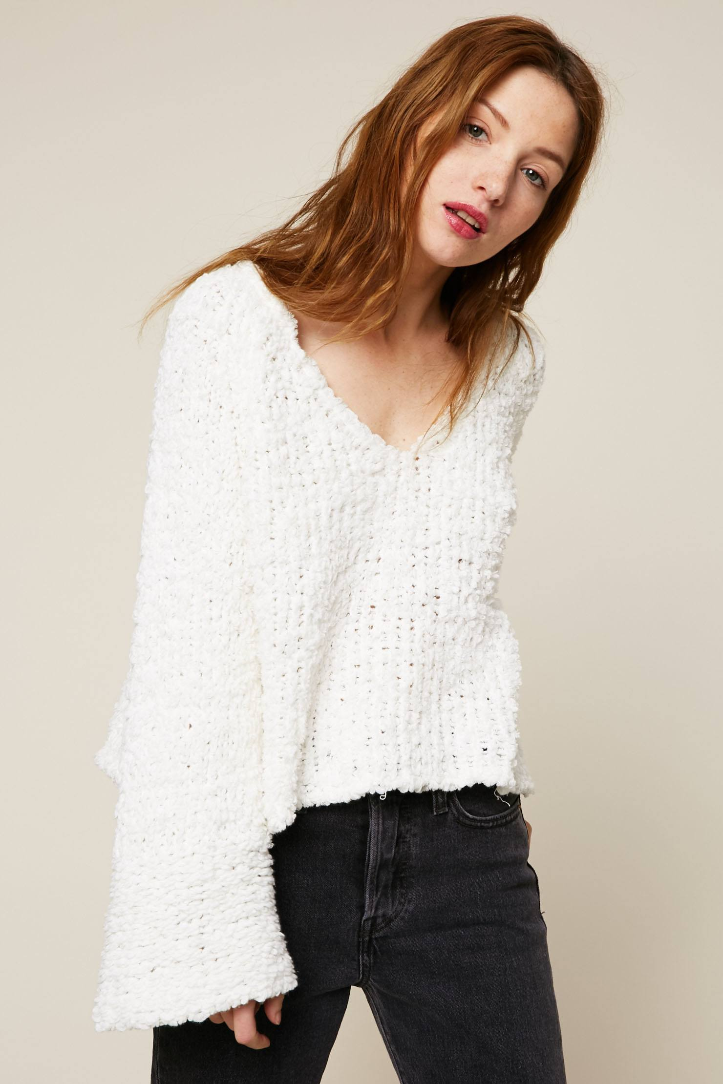 Free People Pull court maille fantaisie blanc