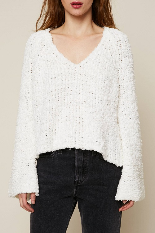 Free People Pull court maille fantaisie blanc - Monshowroom