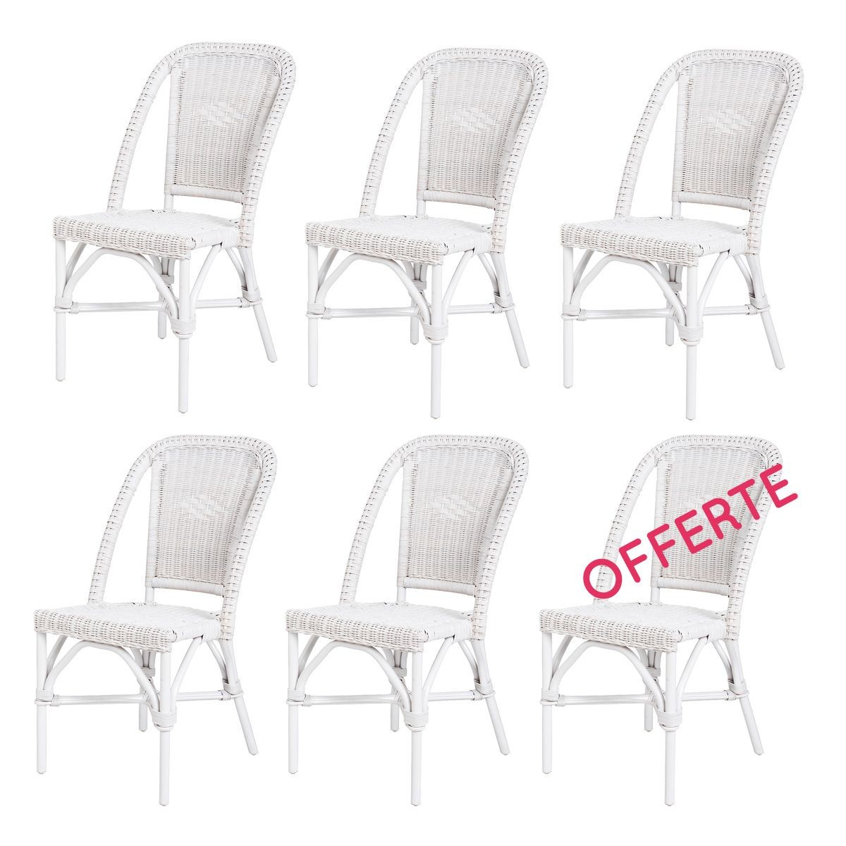 chaise en rotin blanc selva rotin design lot de 6 chaises. Black Bedroom Furniture Sets. Home Design Ideas