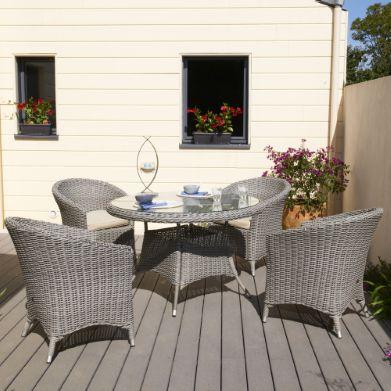 Salon de jardin ISA Table + 4 fauteuils en résine tressée ...