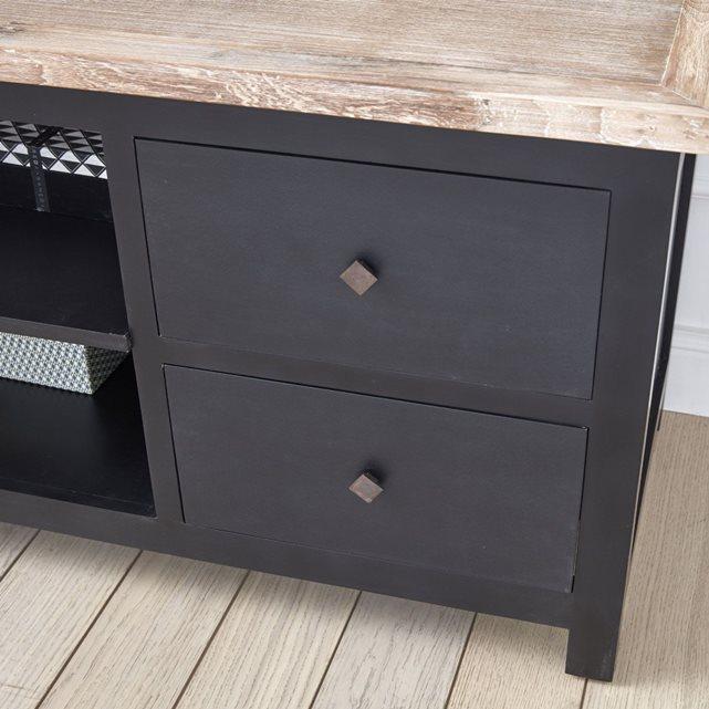meuble tv londres noir bois dessus bois dessous meuble tv la redoute. Black Bedroom Furniture Sets. Home Design Ideas