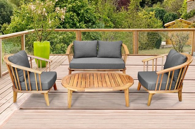 Canapé de jardin Acacia fsc Julma Teck La Redoute Interieur - Salon ...