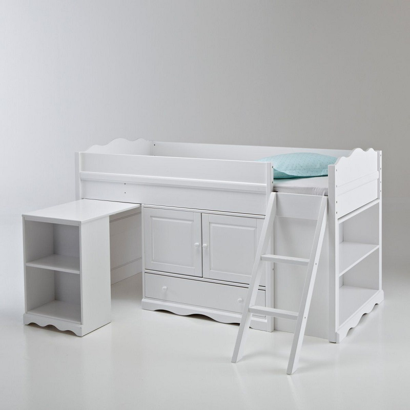 lit combin pin massif authentic style blanc la redoute soldes lit enfant la redoute. Black Bedroom Furniture Sets. Home Design Ideas