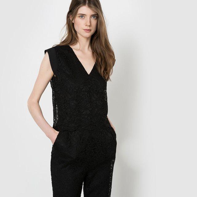 4b7457dcf45 Combi-pantalon de soirée dentelle noir Mademoiselle R - Combinaison ...