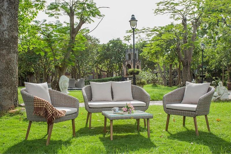 Salon de jardin Bradford Rotin Design en résine tressée beige ...