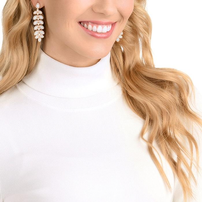 Boucles d'oreilles Baron Swarovski blanc plaqué or rose