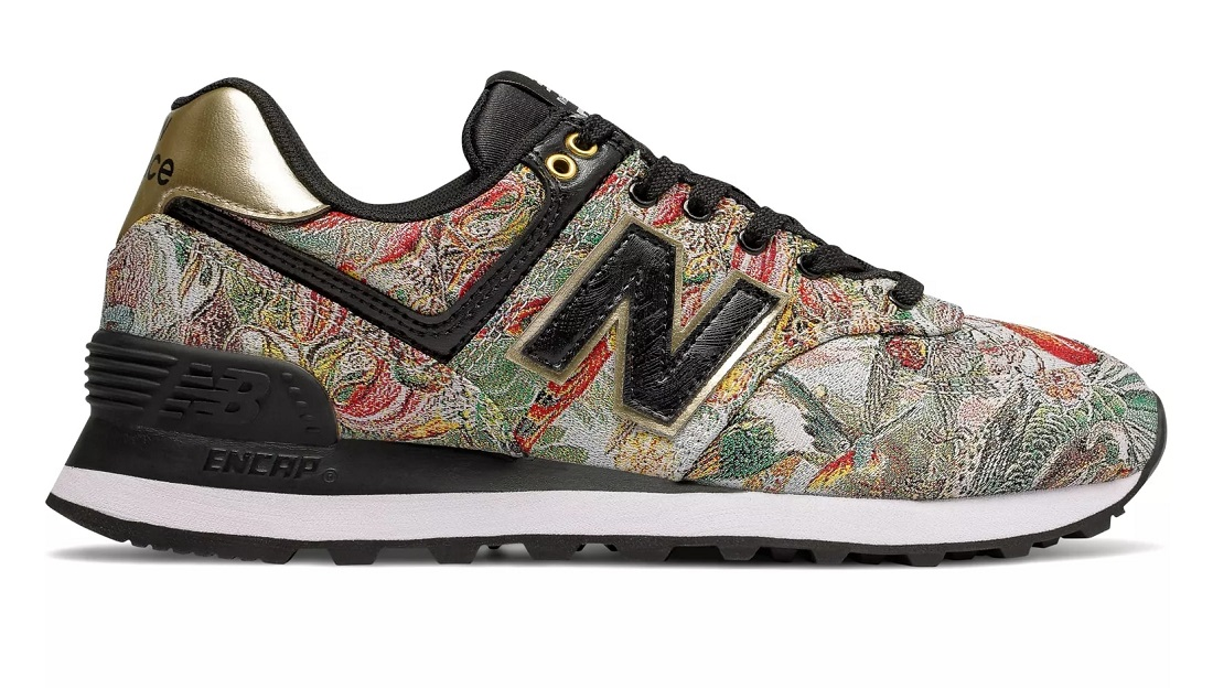 c69e6c813eb74 New Balance 574 Sweet Nectar WL574-V2SN Baskets Basses Black with Classic  Gold