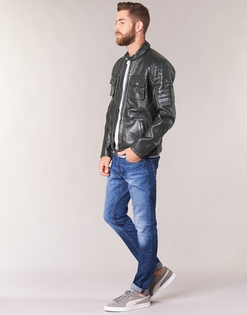 Pepe jeans CINNAMON Noir Veste en Cuir Homme