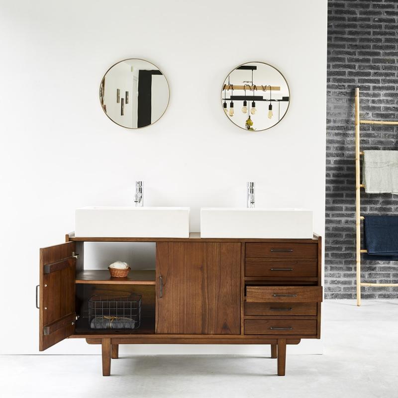 Meuble de salle de bain en bois de mindy 135 VINTAGE - Bois dessus bois dessous