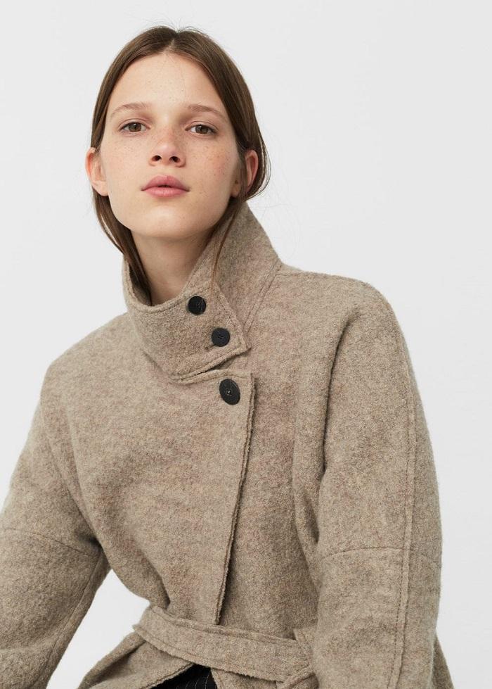 Manteau en laine avec ceinture Femme Mango - Manteau Mango - Iziva.com 1fd182bdf43