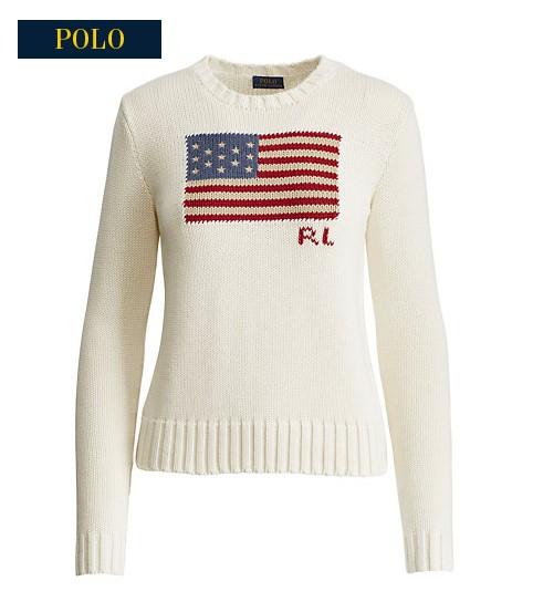Pull en coton motif drapeau Ralph Lauren - Pull Femme Ralph Lauren ... 85804bb89065