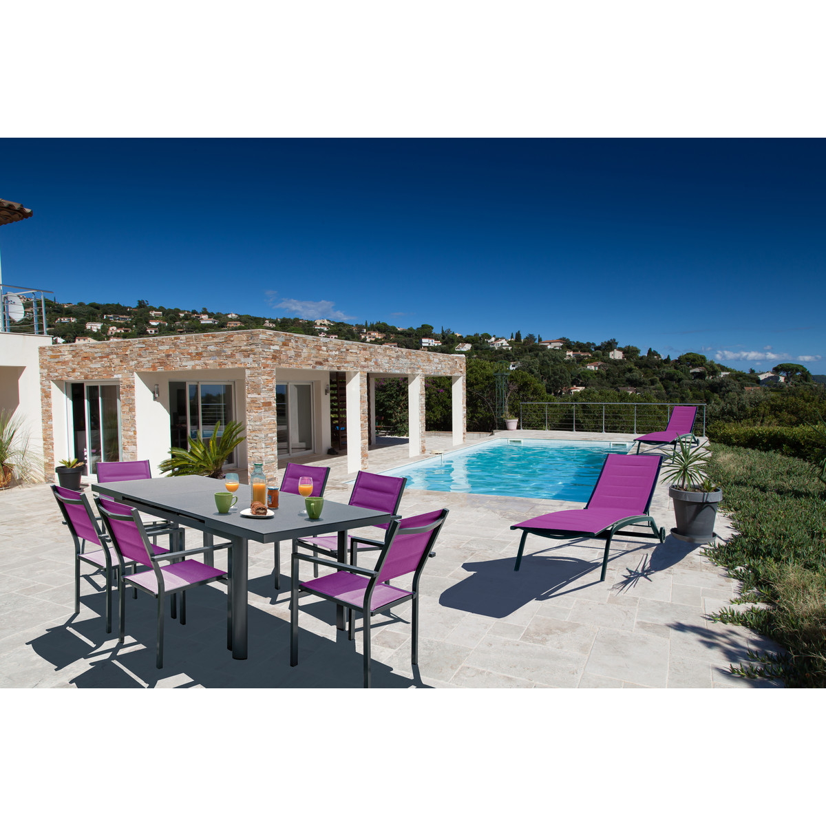 ELIXIR Salon de jardin MALAGA 6 personnes + 2 bains de soleil ...