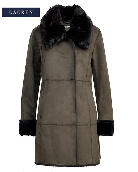 c7153a4fa6501 Veste à pans faux mouton retourné Ralph Lauren - Manteau Femme Ralph ...