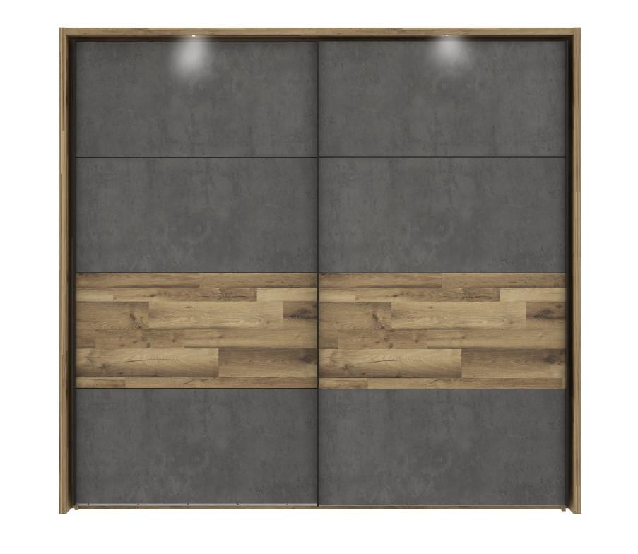 Armoire 2 portes coulissantes RICCIANO imitation chêne béton gris