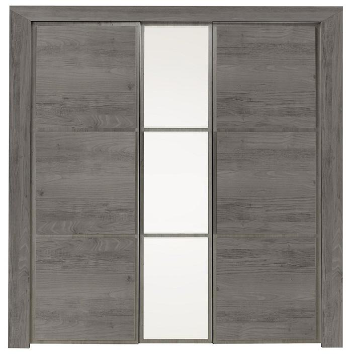 Armoire 3 portes SARLAT GRIS imitation châtaignier gris