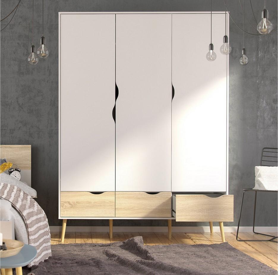 Armoire 3 portes et 3 tiroirs OSLO blanc/ imitation chêne