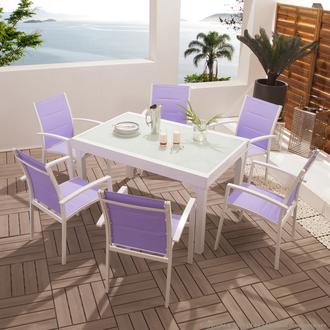 Salon jardin Aluminium Table + Fauteuils empilables MODENA ...
