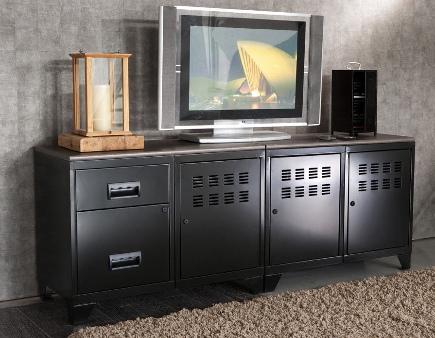 meuble tv acier steel pierre henry meuble tv delamaison. Black Bedroom Furniture Sets. Home Design Ideas