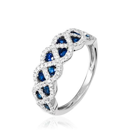 Bague or saphir et diamants pas cher