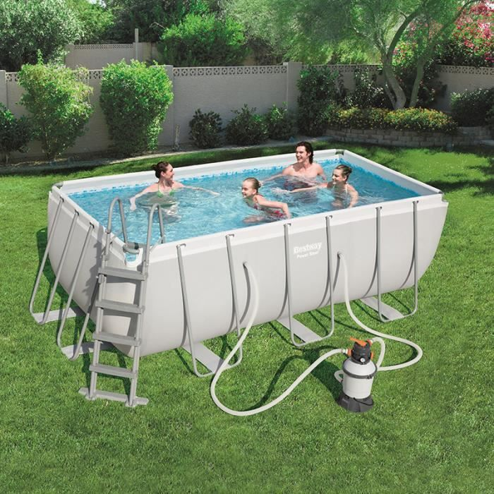 BESTWAY Kit Piscine rectangulaire tubulaire L4,12 x l2,01 x H1,22m