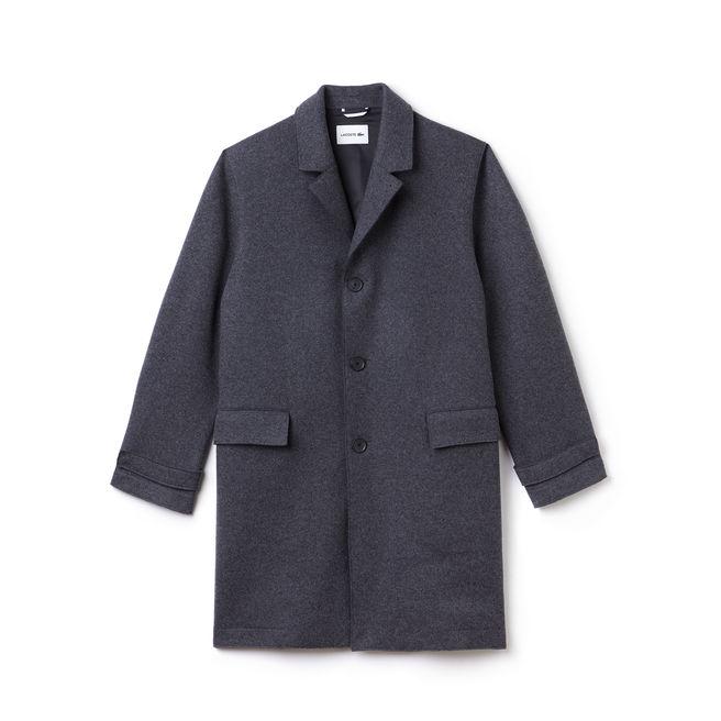 Manteau boutonné Lacoste en drap de laine uni