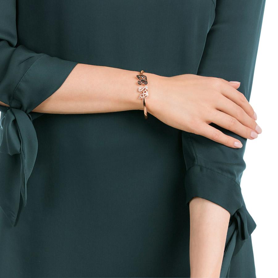 Bracelet-jonc Facet Swan Swarovski multicolore, combinaison de métaux plaqués