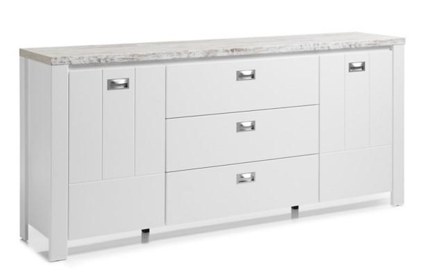 Buffet 2 portes/3 tiroirs MELLY décor blanc et chêne antique