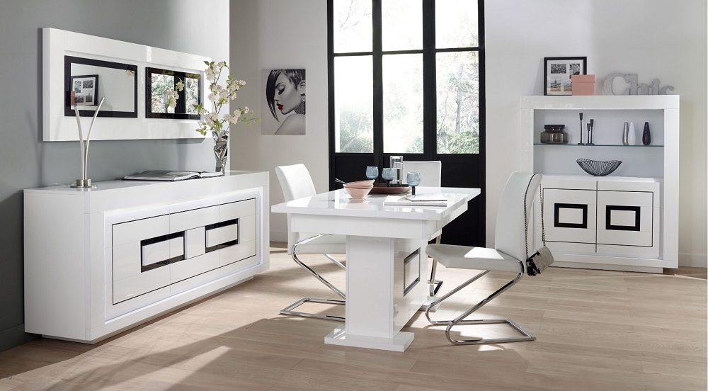 buffet 2 portes 3tiroirs riva 2 blanc noir pas cher buffet but. Black Bedroom Furniture Sets. Home Design Ideas