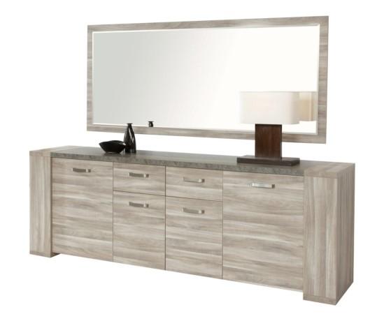 Buffet 4 porte 2 tiroirs STONE DR2 IMITATION CHENE GRIS
