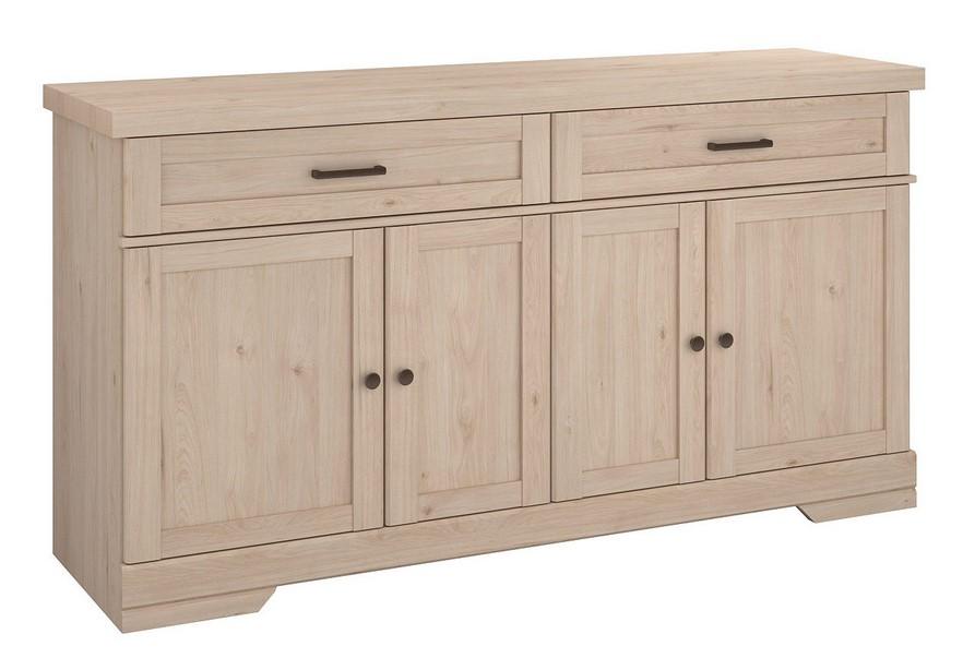 Buffet 4 portes/2 tiroirs VANILLE décor chêne