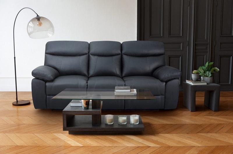Canapé 3 places 2 relax manuels AREZZO cuir et PU noir