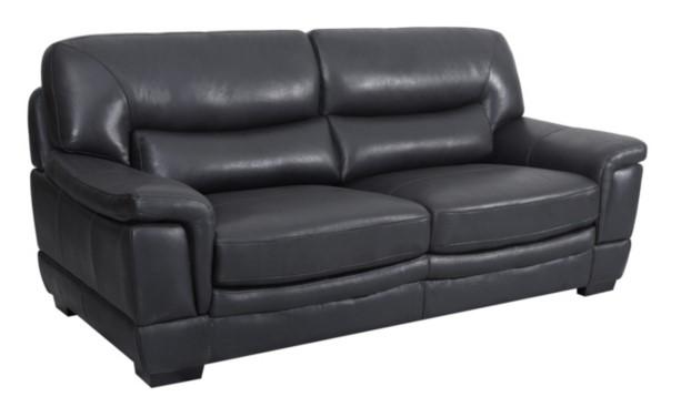 Canapé 3 places LANDY cuir buffle et croûte noir
