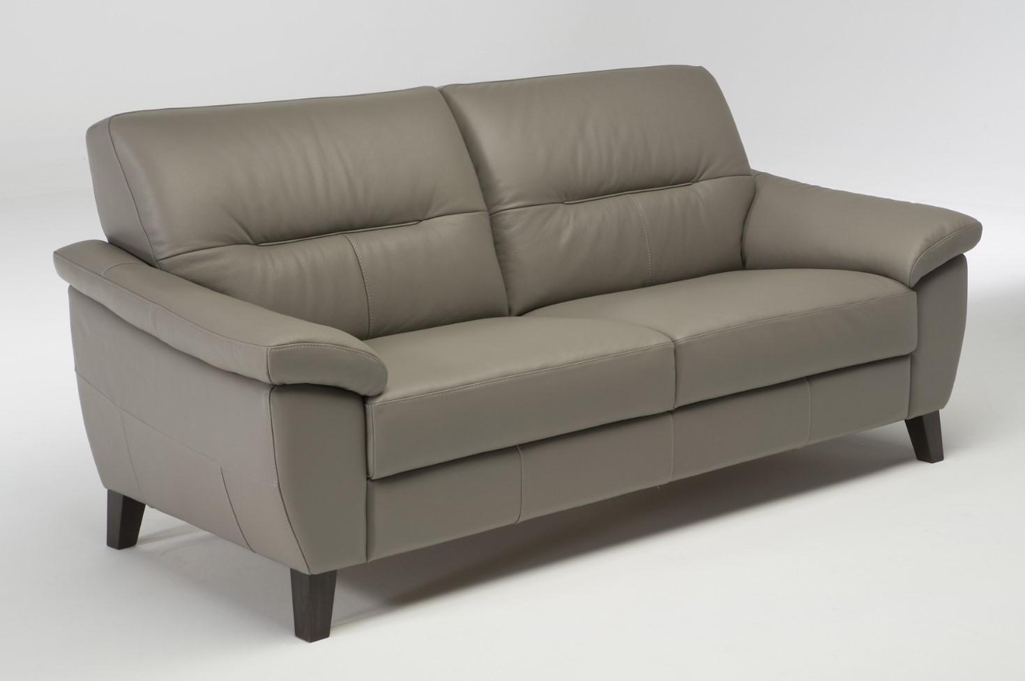 Canapé 3 places LUCQUES cuir et croûte de cuir taupe