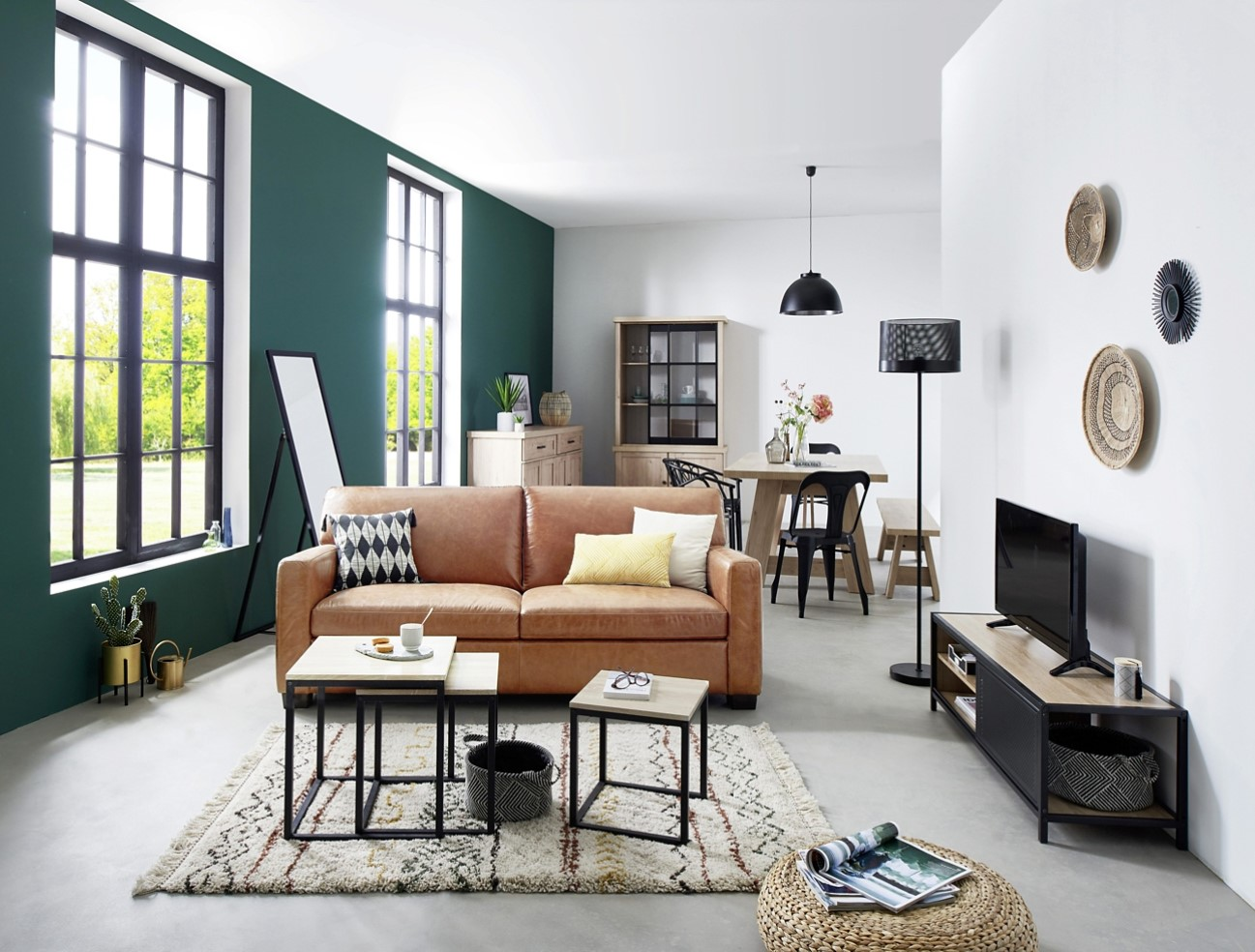 canap brooklyn 2 places alin a en cuir vachette marron. Black Bedroom Furniture Sets. Home Design Ideas