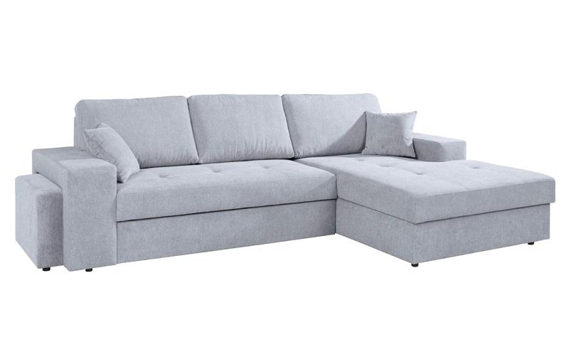 Canapé d'angle convertible méridienne droite ALICIA tissu Alfa gris clair