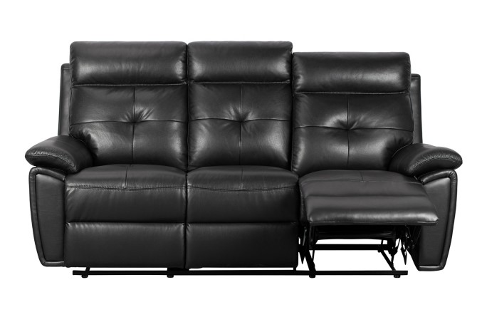 Canapé relax 3 places MARCEL cuir et simili cuir noir