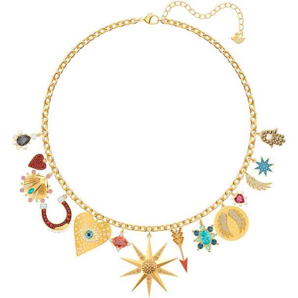 Collier Lucky Goddess Charms Swarovski multicolore métal doré