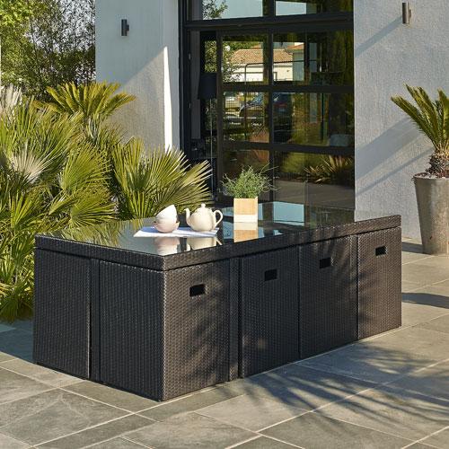 Table et 8 fauteuils Encastrable DCB Garden - Salon de jardin ...