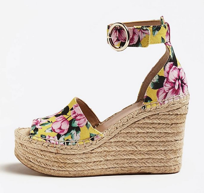 COMPENSEE KALEEY IMPRIME FLORAL jaune Guess