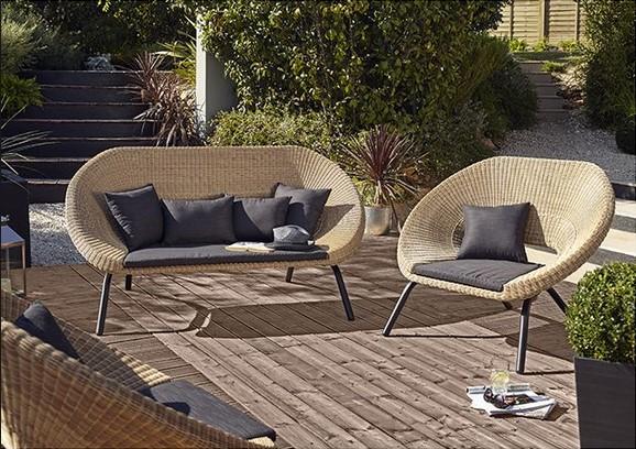 fauteuil de jardin kafe en r sine tress e fauteuil de jardin maisons du monde. Black Bedroom Furniture Sets. Home Design Ideas