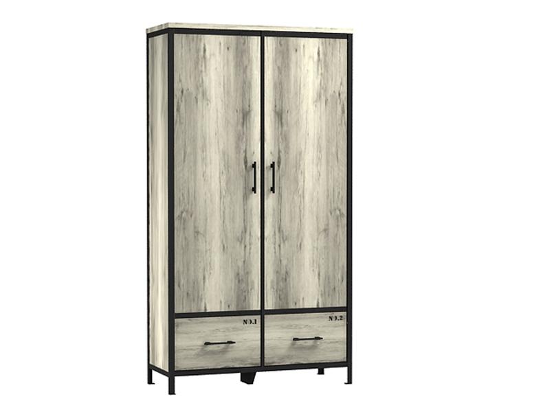 Armoire 2 portes + 2 tiroirs LOFT - Armoire Conforama - Iziva.com