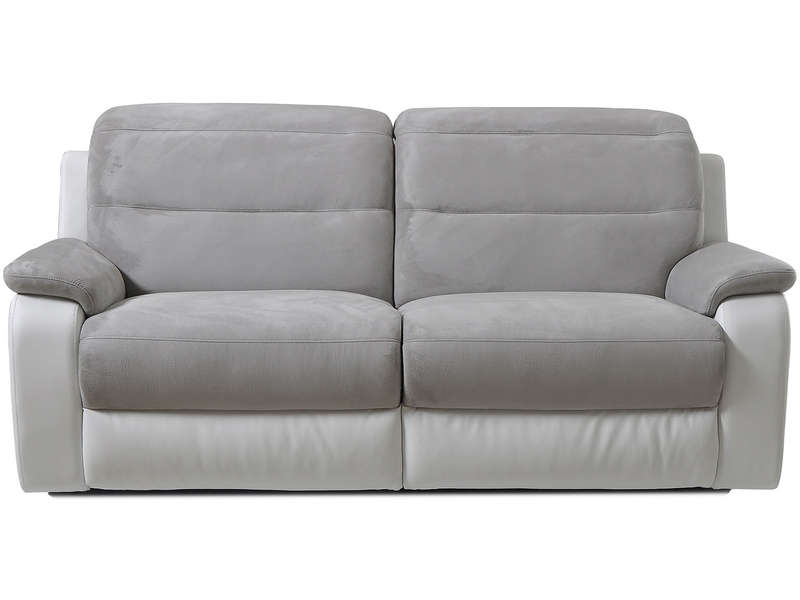 Canape relax manuel bicolore 3 pl LENNY coloris gris/blanc