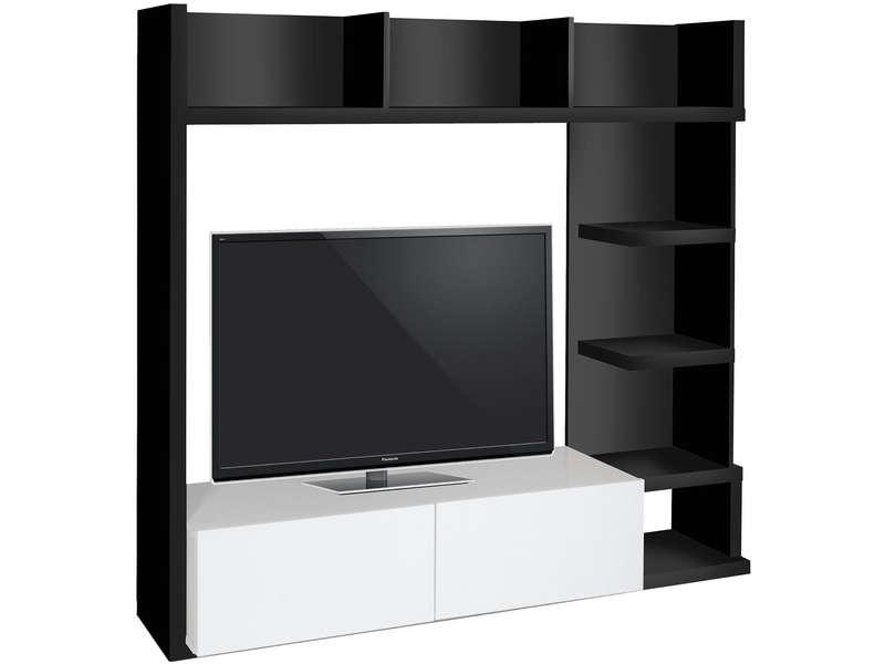 Meuble Tv Leader Coloris Noirblanc Meuble Tv Conforama Pas Cher