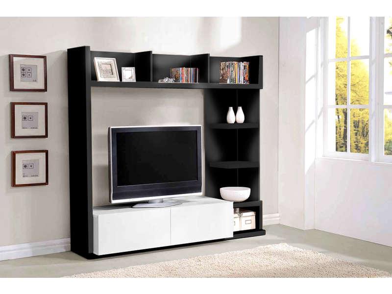 Meuble Tv Leader Coloris Noir Blanc Meuble Tv Conforama