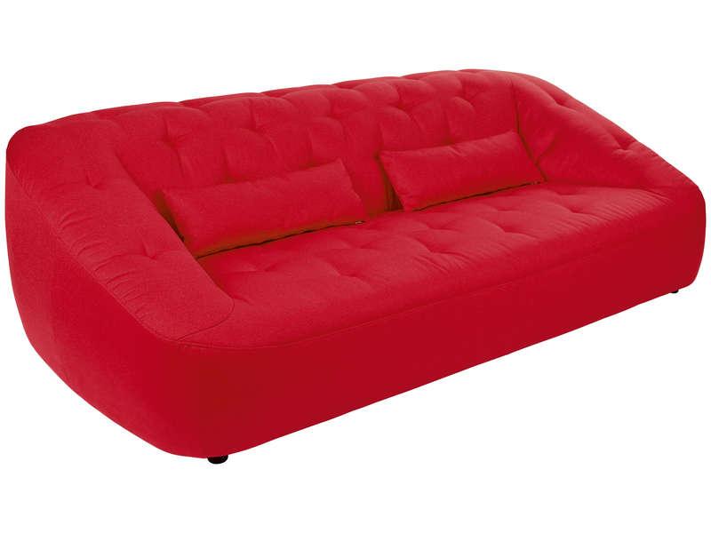 Canapé Fixe 3 Places En Tissu Moovy Coloris Rouge Canapé