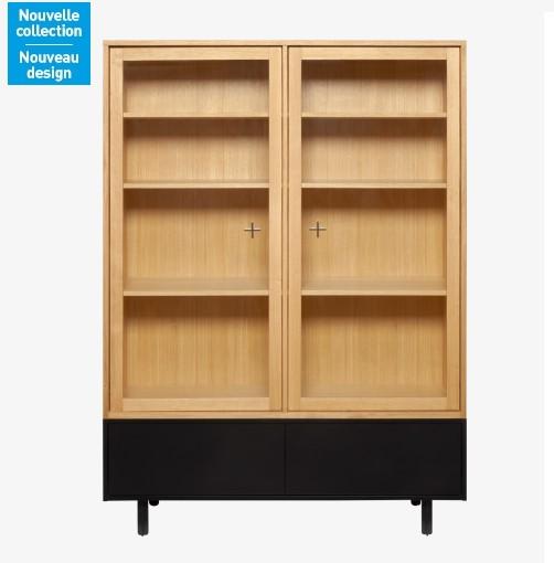 Ikenna rangement en ch ne et verre habitat meuble for Habitat minimaliste