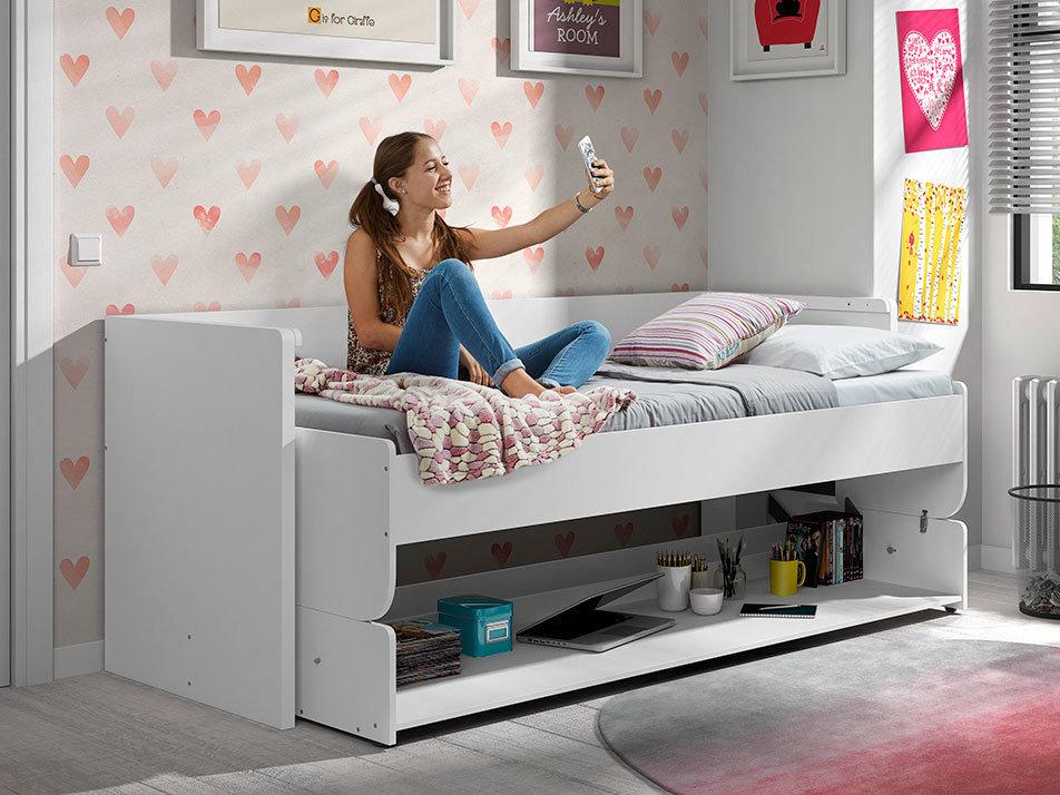Lit transformable dinamik en grand bureau bois laqué blanc lit