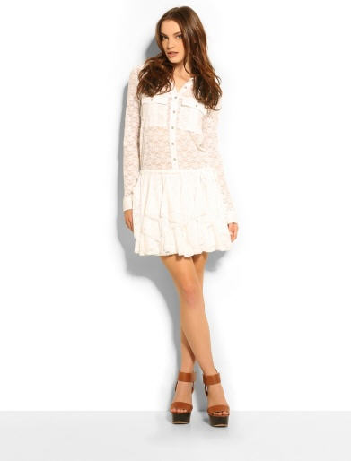 Robe Guess - Lace Ruffle Shirt Dress Guess