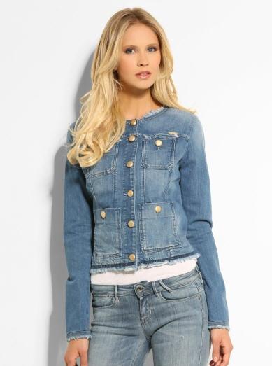 VESTE JEAN DECHIRURES PERLES Guess Veste en Jeans Fille