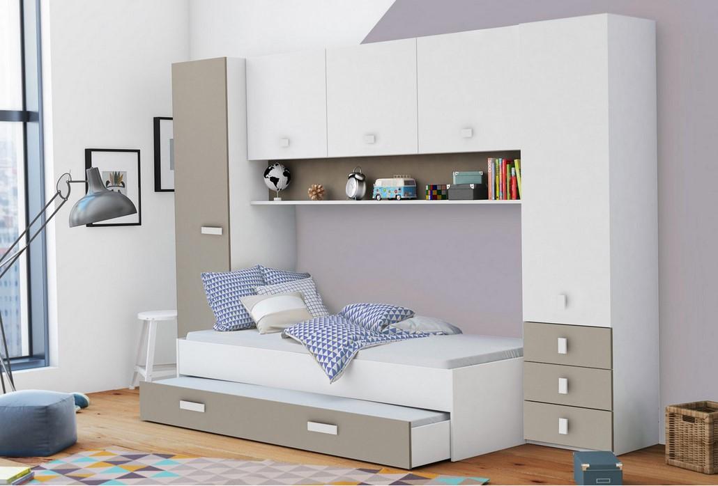 Lit 90x200 cm TIDY avec rangements Coloris blanc et gris argile